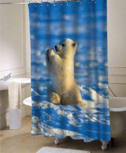 Baby polar bear shower curtain customized design for home decor