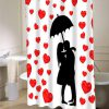 Cute Raining Hearts Silhouette  shower curtain customized design for home decor