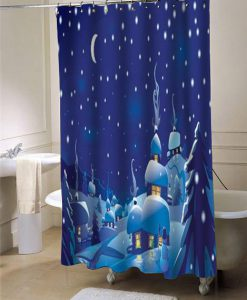 WinterChristmasScene shower curtain customized design for home decor
