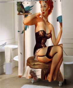 sexy vintage pin up retro girl sit shower curtain customized design for home decor