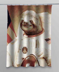 slothzilla astronaut shower curtain customized design for home decor