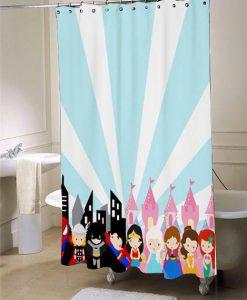 superhero princess  blue and pink shower curtain customized design for home decor