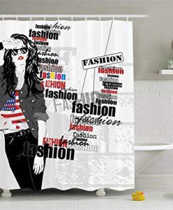 A Modern Teen Girl with USA Flag Shower Curtain KM
