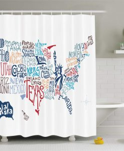Ambesonne USA Map Shower Curtain KM