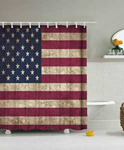 American Flag Shower Curtain USA Decor KM