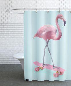 Skate Flamingo Shower Curtain KM