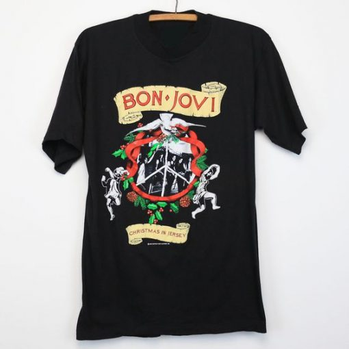 1990 Bon Jovi Christmas In Jersey T-Shirt KM