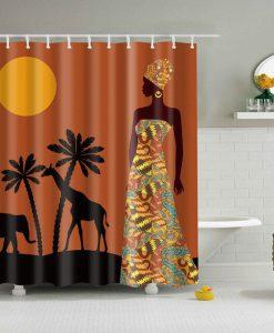 Africa Women moon coconut animal Shower Curtains KM