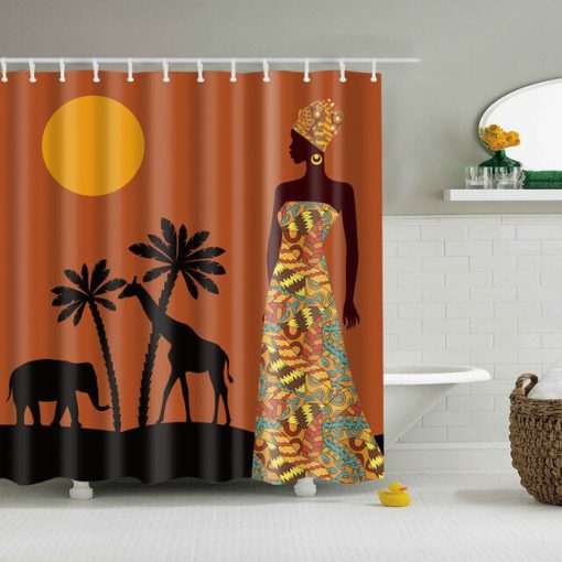 Africa Women moon coconut animal Shower Curtains KM