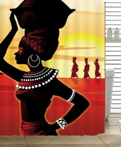 African Girl Shower Curtain KM