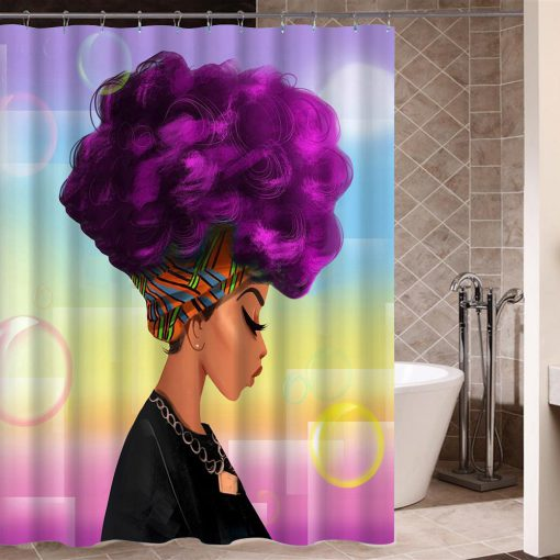 African Woman with Purple Afro Hair Shower Curtain KM