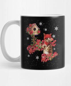 Funny Cute Cat Cat Kitten Poinsettia Christmas Costume Gift Mug KM