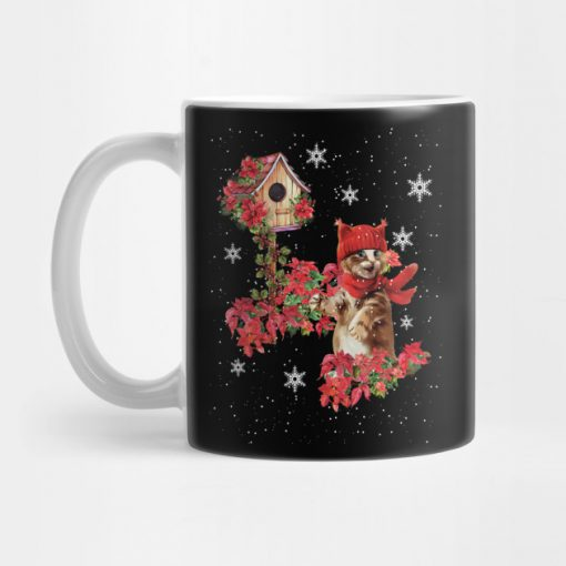 Funny Cute Cat Cat Kitten Poinsettia Christmas Costume Gift Mug KM