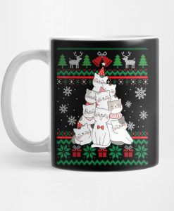 Funny Cute Cat Cat christmas tree Ugly Christmas Pajamas Gift Mug KM