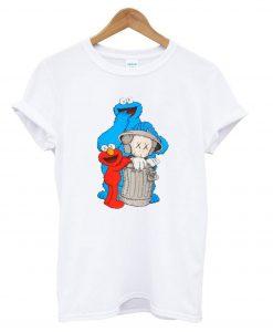 Uniqlo White Kaws X Sesame Street Graphic T Shirt KM