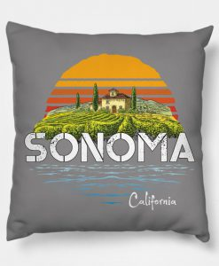 Vintage Sonoma Valley Winery California Pillow KM