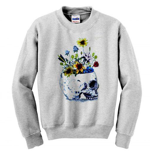 Skull With Flowers Sweatshirt KM