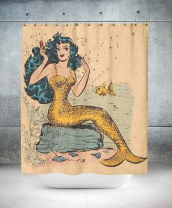 Vintage Retro Pin Up Mermaid Nautical Shower Curtain KM
