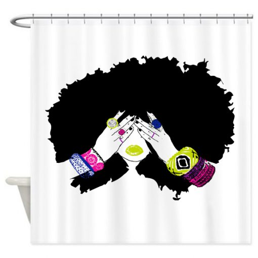 Afro Hair Shower Curtain KM