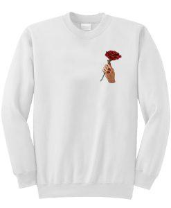 A rose flower in hand Sweatshirt KM
