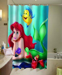 Ariel Flounder the little mermaid Shower Curtain KM