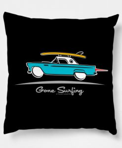 1955 Ford Thunderbird Gone Surfing Pillow KM