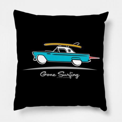 1955 Ford Thunderbird Gone Surfing Pillow KM