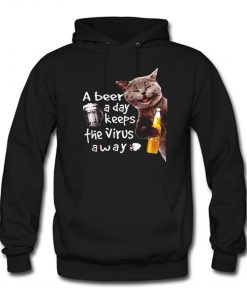 Cat drink corona extra a beer a day keeps the virus away Hoodie KM
